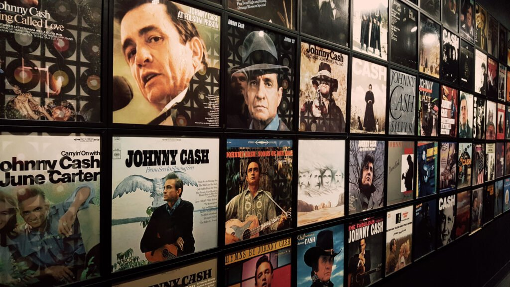 album covers at the Johnny Cash Museum in Nashville Tennessee | One Day in Nashville for Solo Female Travelers