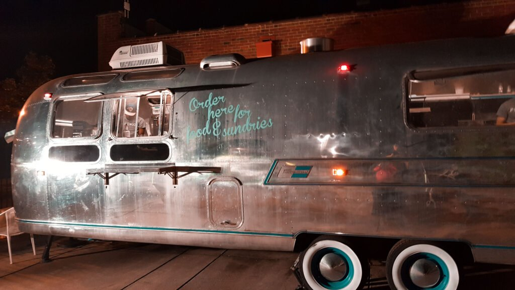 outdoor Airstream bar at Pinewood Social in Nashville Tennessee | One Day in Nashville for Solo Female Travelers