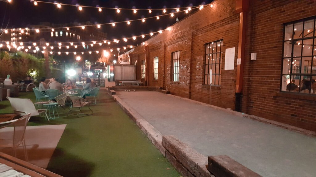 outdoor bocce court and patio at Pinewood Social in Nashville Tennessee | One Day in Nashville for Solo Female Travelers
