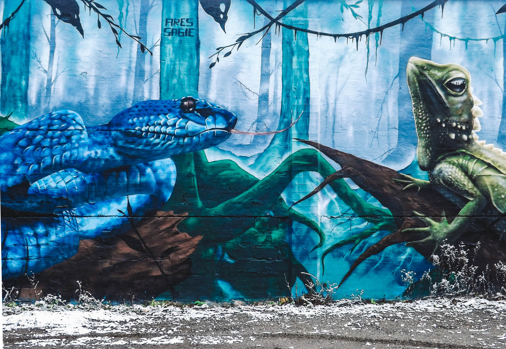 reptile mural by Fires Sagie Snosatra graffiti park Stockholm Sweden | Best Street Art Cities