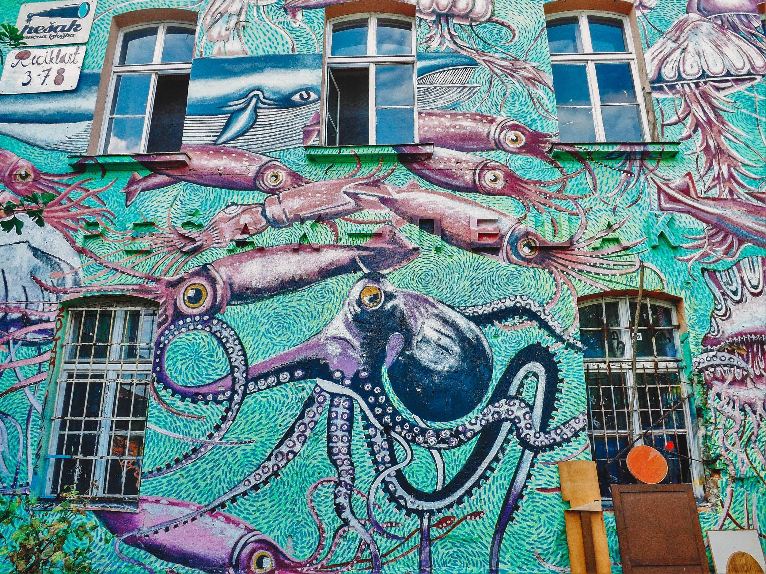 squid mural Metelkova Mesto Ljubljana Slovenia | Best Street Art Cities