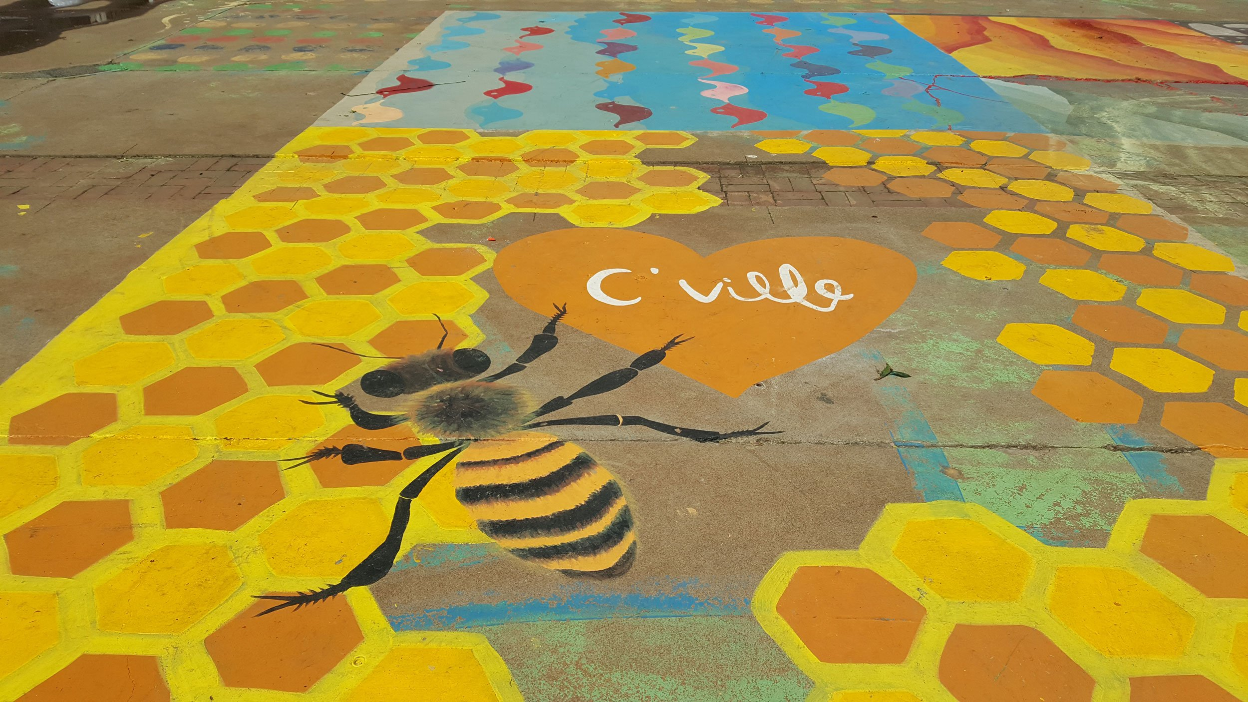 bumblebee mural at IX Art Park | Free Things to Do in Charlottesville Virginia