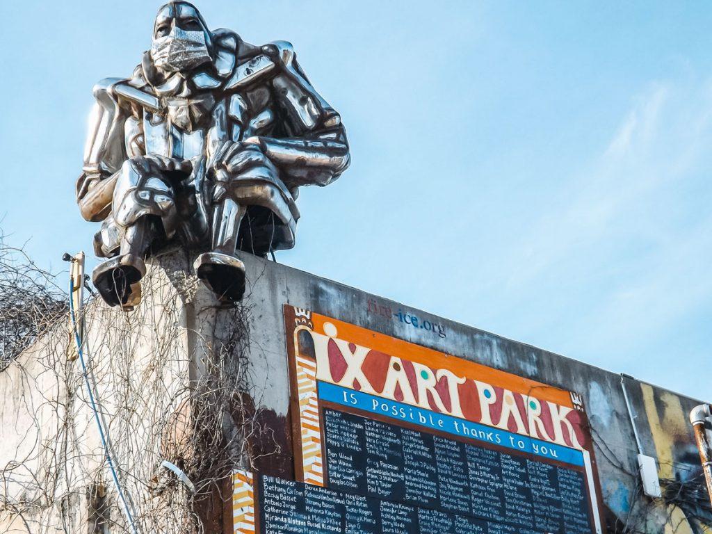 Bumper Buddha sculpture at IX Art Park in Charlottesville Virginia